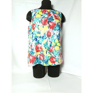 Talbots Large floral Sleeveless Multicolored Top
